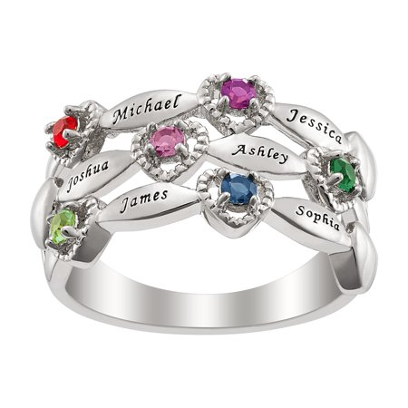 - Personalized Women's Sterling Silver, Silvertone or Goldtone Family Name And Birthstone Ring