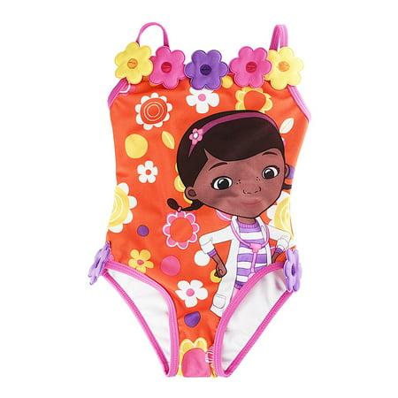 2e7f0c520e593 Disney - Doc McStuffins Orange 1-Piece Swimsuit for Girls - Walmart.com