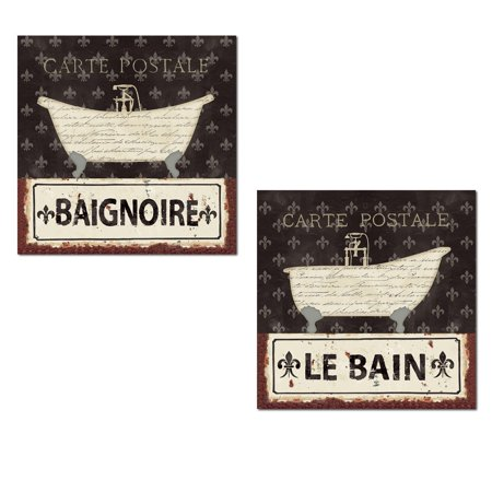 Lovely French Le Bain and Baignoire Typography Fleur De Lis Bath Print Set by Pela Studio; Two 12x12in Poster Prints (French Fleur De Lis)