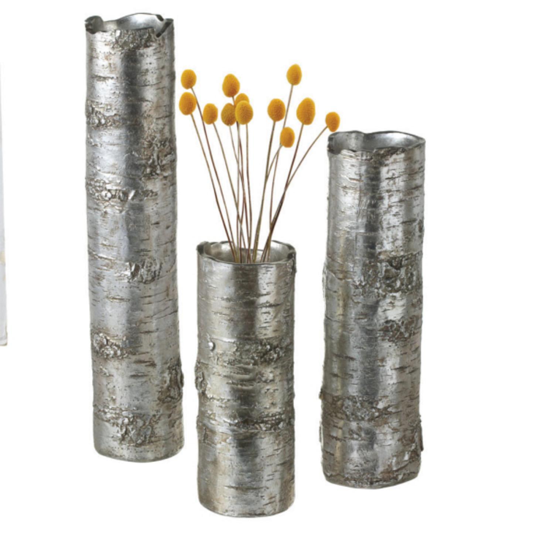 Set of 3 Decorative Rustic Metallic Silver Tree Trunk Flower Vases