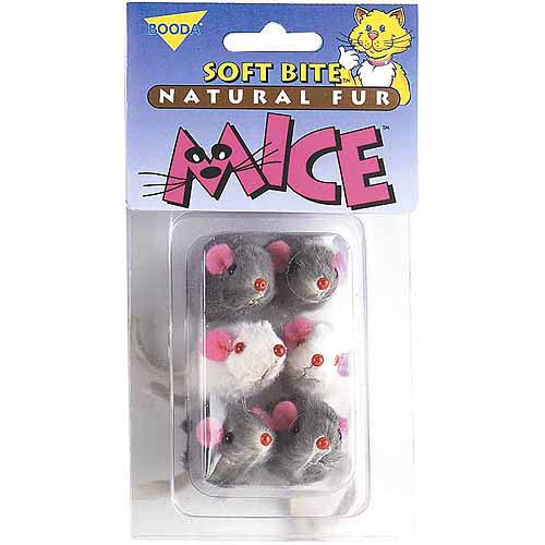 Petmate Doskocil Co. Inc. Natural Fur Mice Soft Bite Cat Toys, 6-Pack