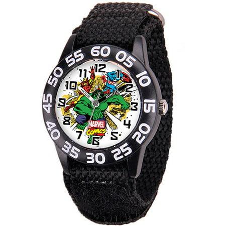 Hulk Boys' Plastic Case Watch, Black Nylon Strap ()