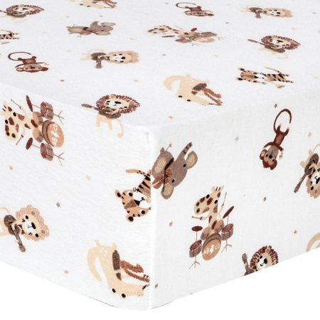 Safari Rock Band Deluxe Flannel Fitted Crib Sheet