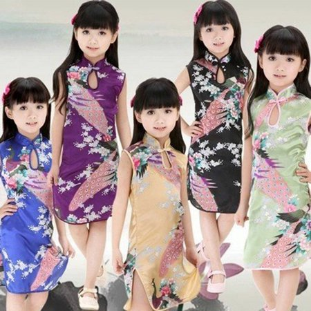 Satin Cheongsam Dress (Kacakid Multi-Colors Chinese Qipao Baby Girl Kids Floral Peacock Cheongsam Dress Clothes)