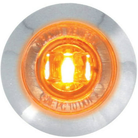 "Grand General Red 1"" Mini Wide Angle Single LED Marker Sealed Light with Clear Lens and Chrome Plastic Bezel"