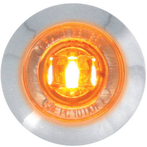 """Grand General Red 1"""" Mini Wide Angle Single LED Marker Sealed Light with Clear Lens and Chrome Plastic Bezel"""