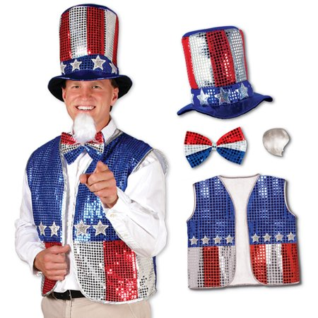 Patriotic Red, Silver and Blue Sequined Uncle Sam Costume Accessory Set - Uncle Sam Halloween Costumes