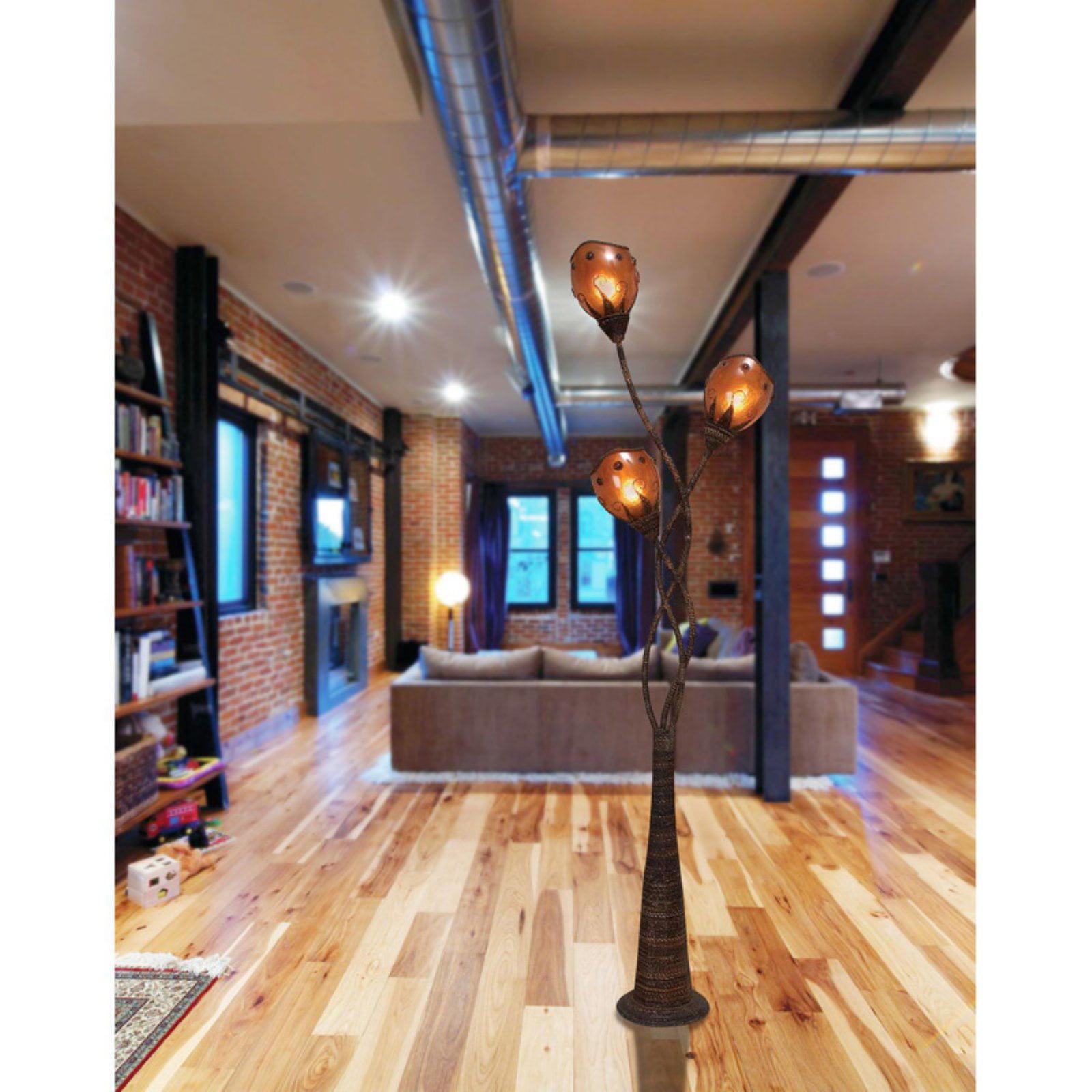 Decmode Metal Abaca Floor Lamp, Multi Color
