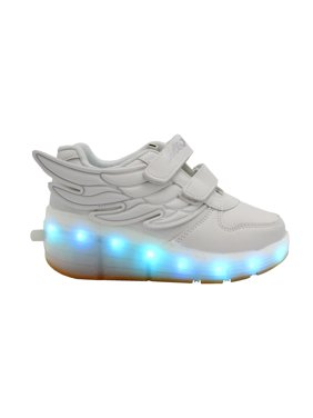 LED Light Up Rolling Wings Sneakers Kids Low Top USB Charging Boys Girls Unisex Shoes White