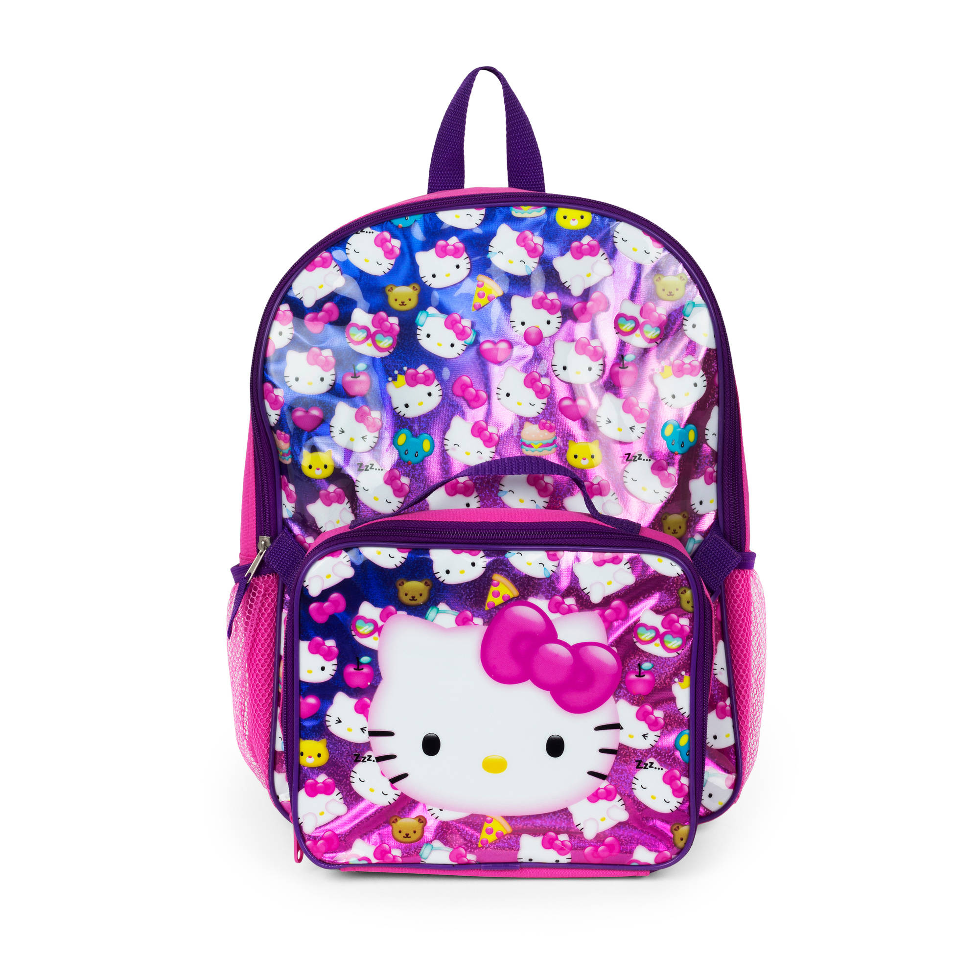 "Hello Kitty Tossed Kitty! 16""  Backpack with Lunch Kit"