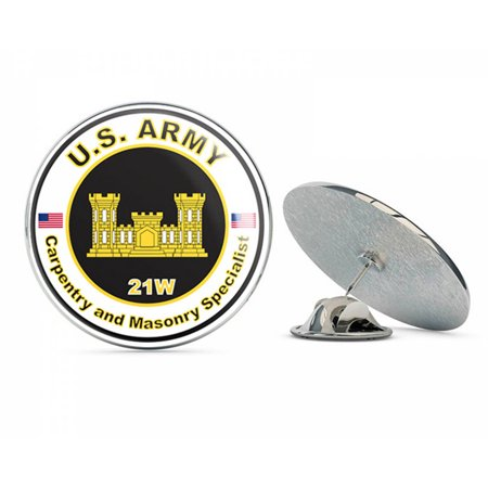 """U.S. Army MOS 21W Carpentry and Masonry Specialist Metal 0.75"""" Lapel Hat Pin Tie Tack Pinback"""