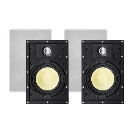 Monoprice 2 Way In-Wall Speakers - 6.5 Inch (Pair) With Snap-Lock, Aramid Fiber And Titanium Silk Drivers - Caliber Slim Series