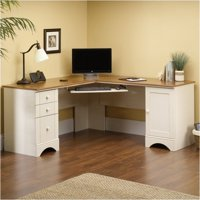 Pemberly Row Corner Computer Desk in Antiqued White