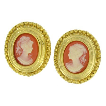 - Orange Cameo Antiqued Gold Tone Oval Button Pierced Earrings 3/4