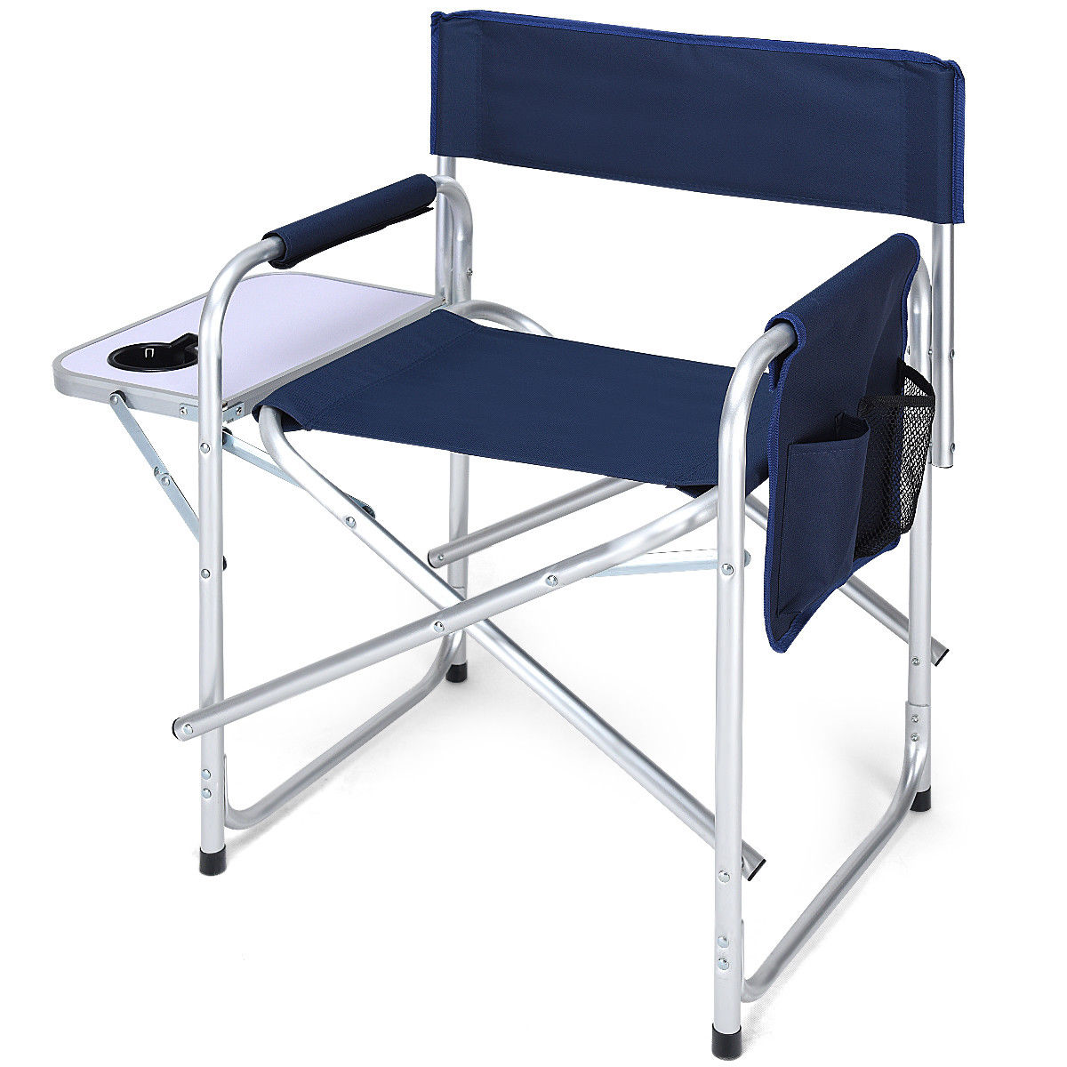Costway Folding Directoru0027s Chair Side Table Outdoor Camping Fishing W/Cup  Holder Navy