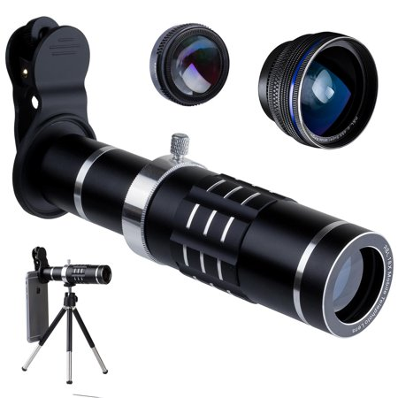 R&L Telephoto Lens for Smartphone - Mobile Camera Kit with 18X Telephoto, Wide Angle and Macro Lenses 3 in 1 - Universal Clip Attachment for iPhone 7 8 Plus & Android Cell Phone -