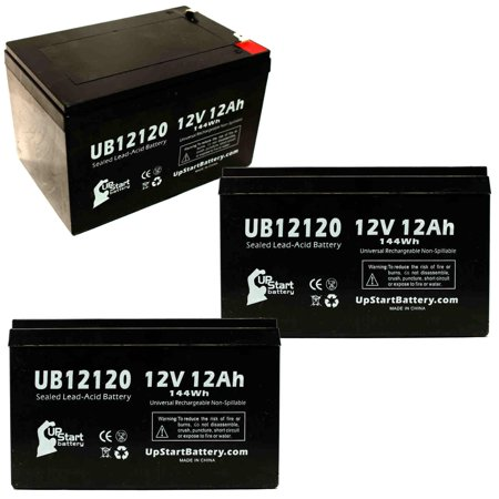 3x Pack - Mongoose CR36V450 Battery Replacement - UB12120 Universal Sealed Lead Acid Battery (12V, 12Ah, 12000mAh, F1 Terminal, AGM, SLA) - Includes 6 F1 to F2 Terminal Adapters - image 4 de 4