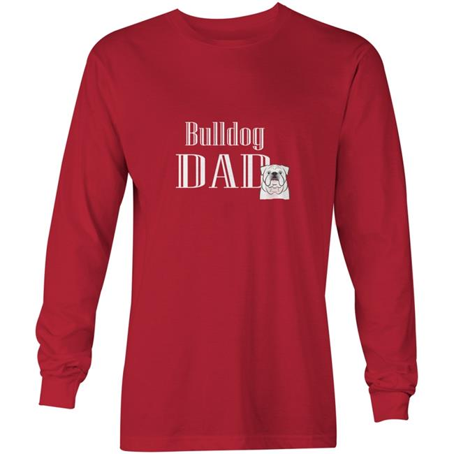 Carolines Treasures BB5228-LS-RED-2XL White English Bulldog Dad Long Sleeve Red Unisex Adult T-Shirt, 2XL - image 1 of 1