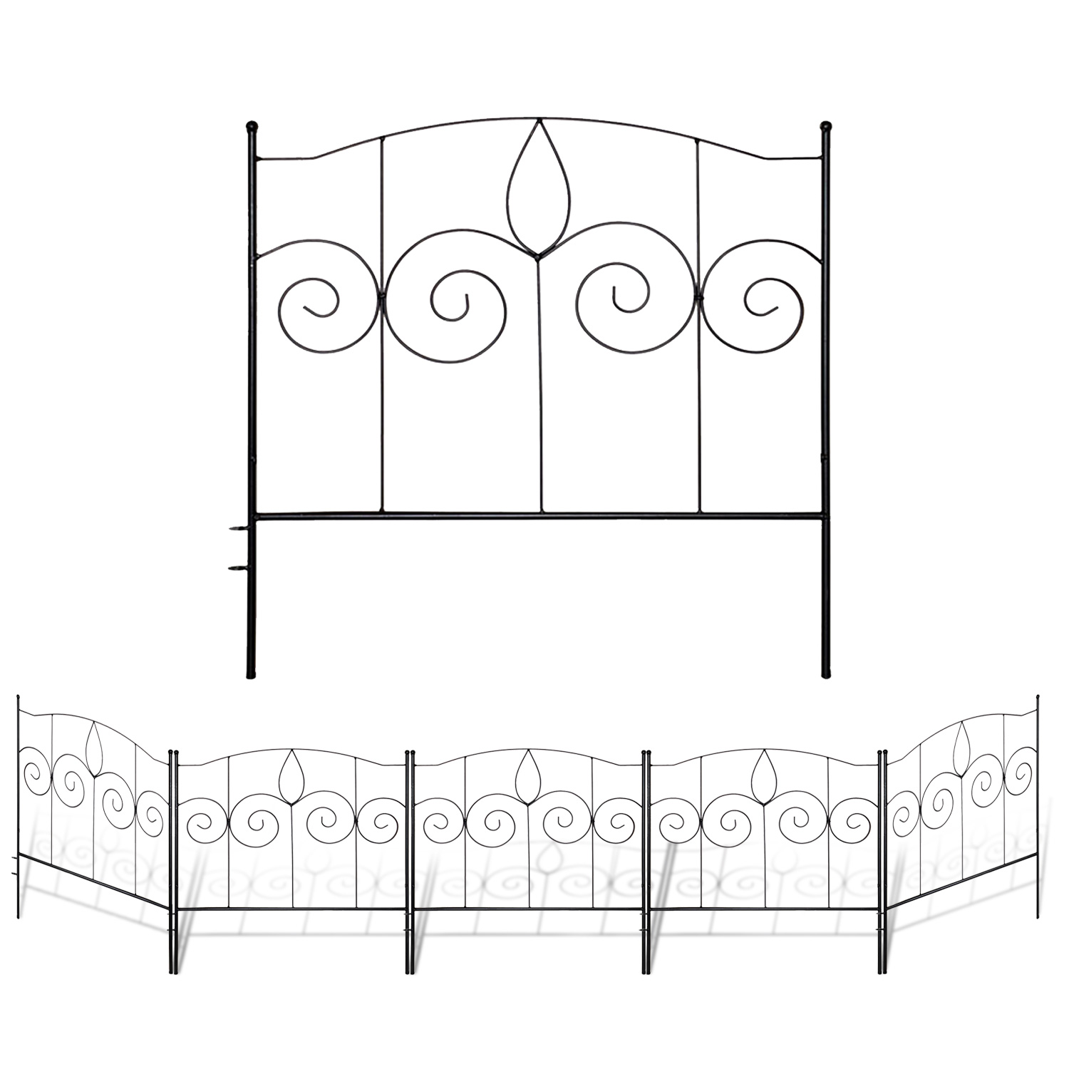 Pack of 5 Totally 10 ft Decorative Wire Fencing Garden Border Edging Garden Fence Animal Barrier MTB Decorative Garden Border Fence Panel 32 in x 24 in