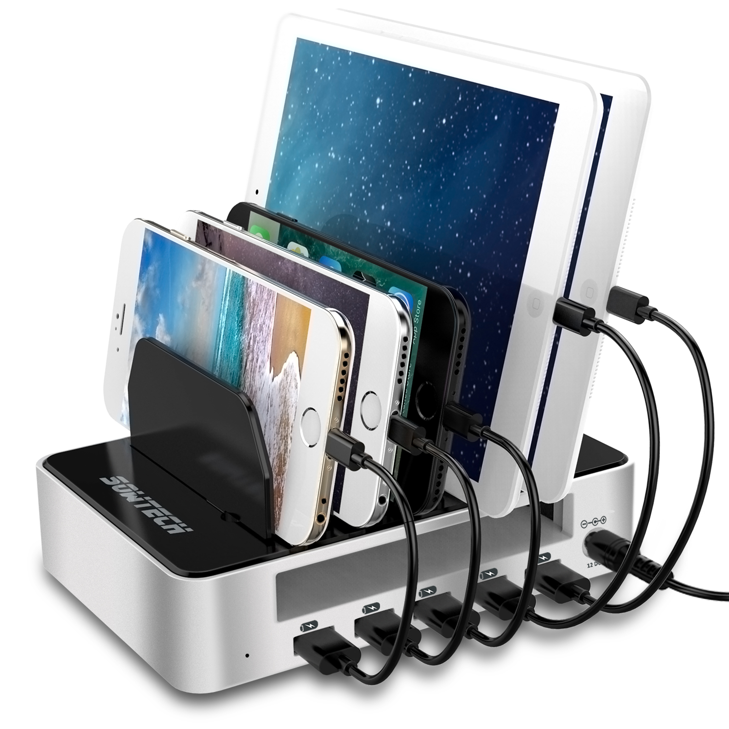 USB Charging Station SOWTECH 5-Port Charging Stand Docking Station Multi-Port USB Ports Detachable Baffles for iPhone/iPad/Smart Phone/Tablets