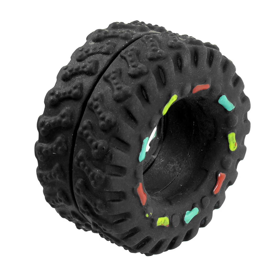 Black Vinyl Rubber Tire Tyre Shaped Bone Pattern Squeaky Dog Cat Pet Toy