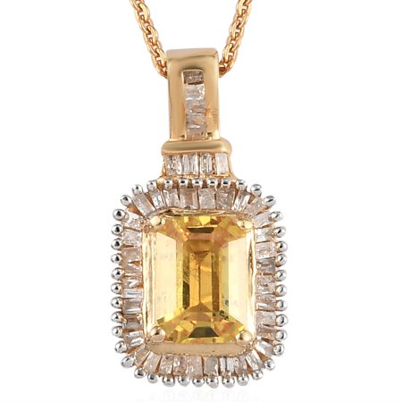 """Shop LC 925 Sterling Silver Octagon Sapphire White Diamond Halo Necklace Vermeil Yellow Gold Plated Pendant Bridal Anniversary Engagement Wedding Size 20"""" Ct 1.3 Jewelry For Her"""