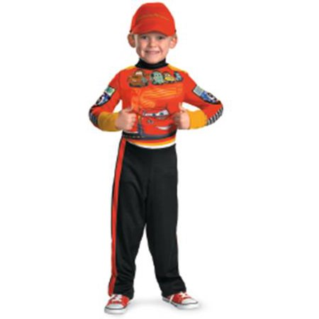 27224K Disney Cars 2 Lightning Mcqueen Pit Crew Classic Boys Costume, Medium/7-8