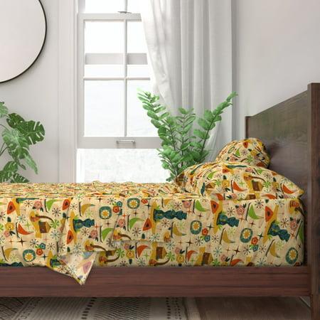 Tiki Statue Head Hut Midcentury Modern 100% Cotton Sateen Sheet Set by Roostery ()