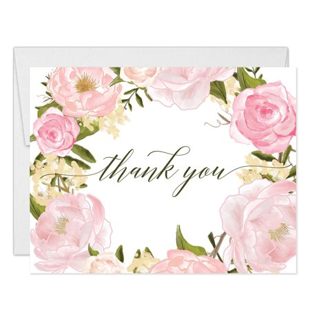 Personalized Baby Shower Thank You Cards (Lovely Pink Peonies Wreath Thank You Cards with Envelopes ( Pack of 25 ) Beautiful Buds Thanks Birthday Baby Bridal Shower Baptism Christening Thank You Notes Excellent Value Gracias Notecards)