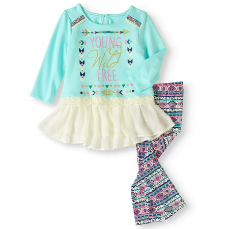 Self Esteem Little Girls' French Terry Chiffon Trim Tunic and Leggings 2-Piece Outfit Set