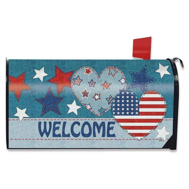 Patriotic Patchwork Welcome Mailbox Cover Primitive Hearts Stars Standard Walmart Com