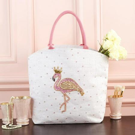Embellished Flap - Two's Company Flamingo Embellished Tote Bag
