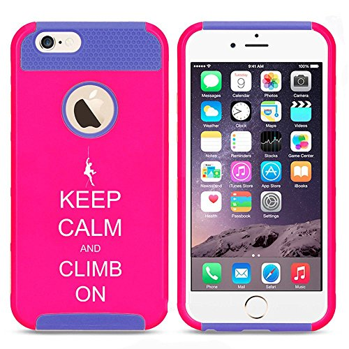 Apple iPhone 5 5s Shockproof Impact Hard Case Cover Keep Calm And Climb On Climber (Hot Pink-Blue),MIP