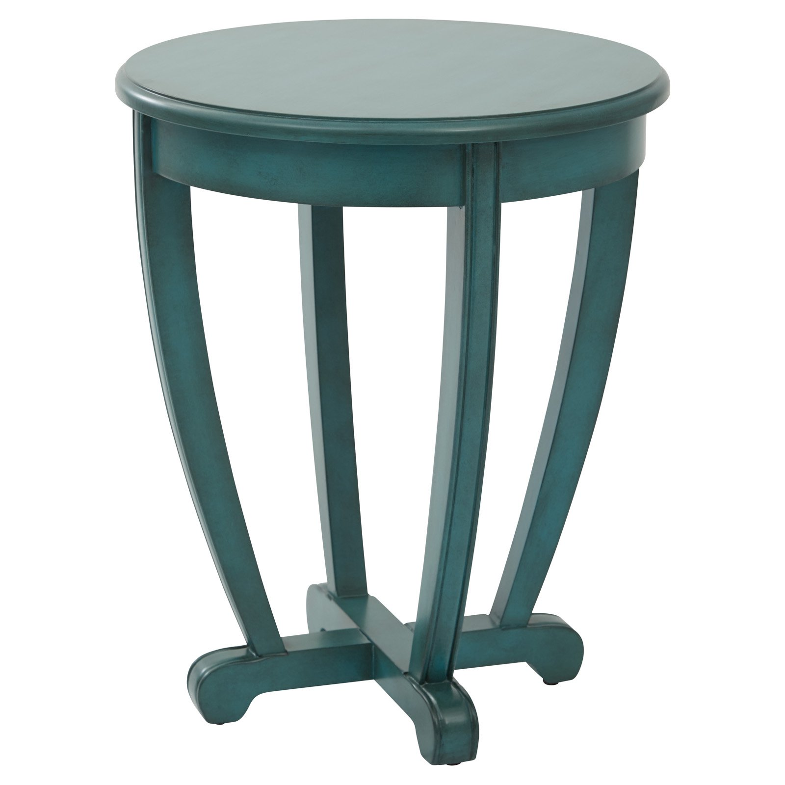 Tifton Round Accent Table Blue Finish