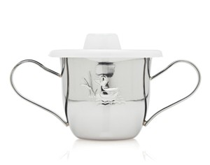 Duck Stainless Steel Baby Cup with Lid and Handles by Godinger
