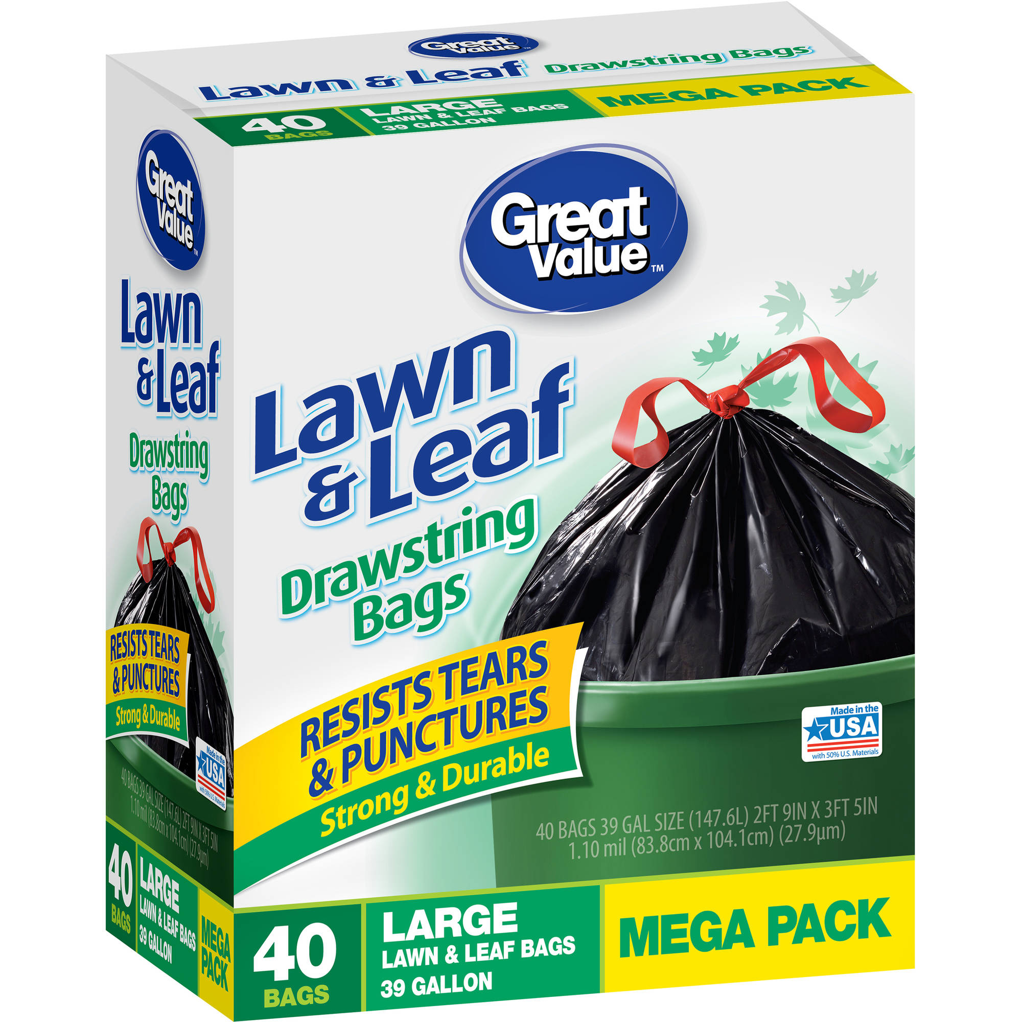 Great Value Lawn & Leaf Bags, 39 gal, 40ct