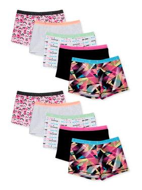Athletic Works Girls Active Boyshort Underwear, 10 Pack Sizes S-XL