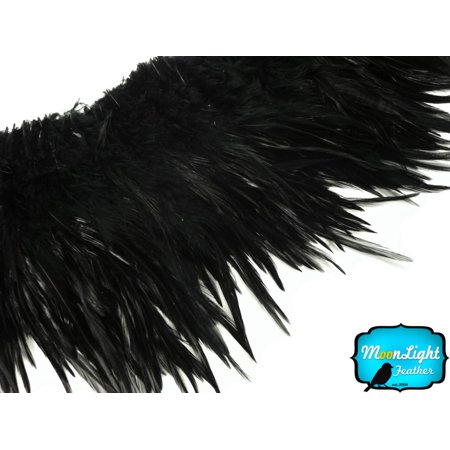 Supply Feather Light 4 Wheel (4 Inch Strip - Black Strung Rooster Neck Hackle Feathers)