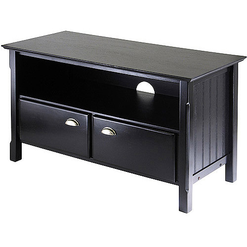 Winsome Wood Timber TV stand with Two Doors, Black Finish