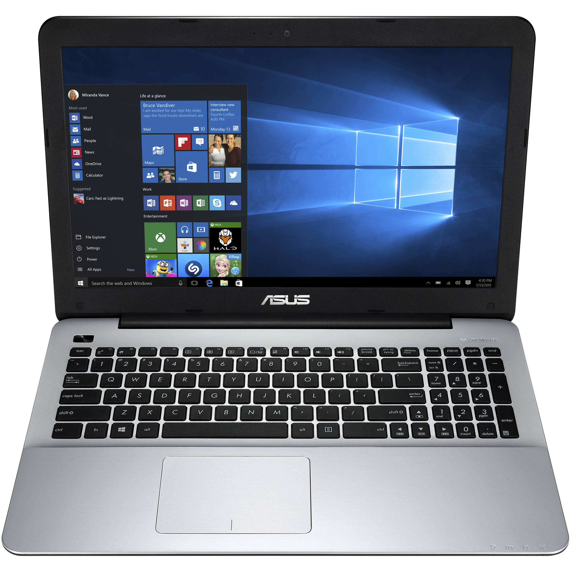 "ASUS Matte Black X555DA-WB11 15.6"" Laptop PC with AMD Quad-Core A10-8700P Processor, 4GB Memory, 500GB Hard Drive and Windows 10"