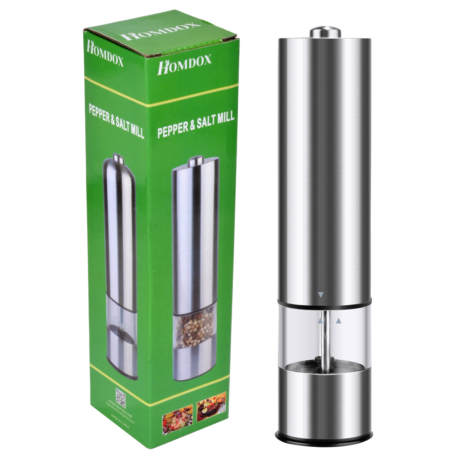 Battery Powered One Touch Automatic Electric Pepper Grinder Salt Mill by