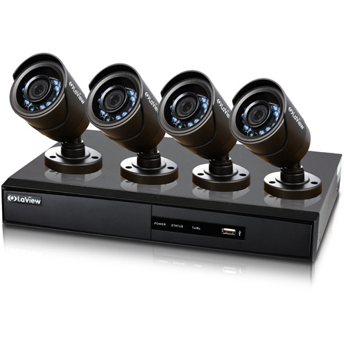 LaView Surveillance System 960H 4CH DVR with 500GB storage and Four 600TVL Security Cameras
