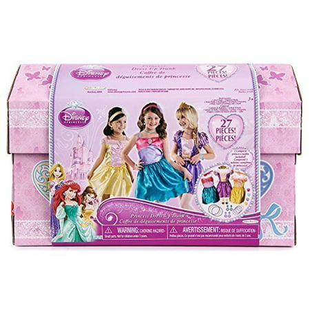Disney Princess - 27 Piece Dress Up Trunk with Accessories - Ariel, Rapunzel, & Belle - Dress Up Princess Ariel
