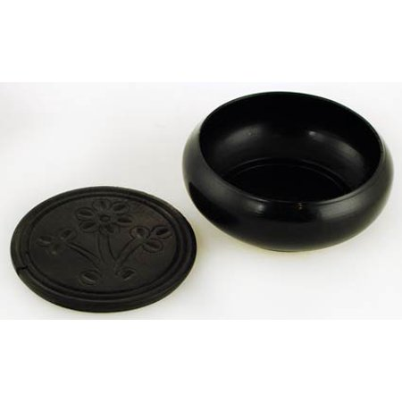 Incense Burner Smudge Pot Medieval Simple Design in Painted Black Metal Bowl and Coaster Meditation Relaxation Tool 3""