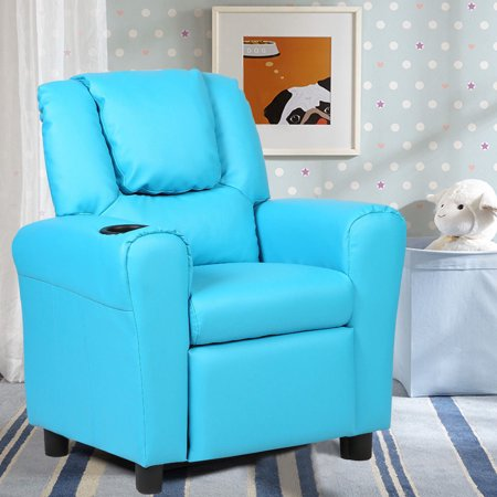 Kids Recliner Armchair Sofa Chair Couch Seat w/ Cup Holder Home Furniture Blue - image 4 de 10