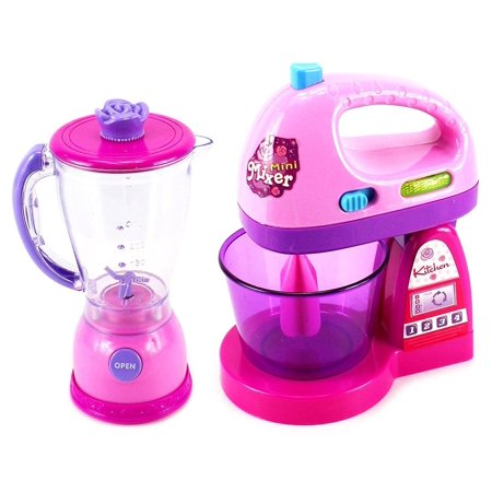 Happy Kitchen Blender and Mixer Kitchen Appliances Toy Set for kids with Light Up Swirling Colors Kitchen Appliance Playset Mixer has light, sound, and movement. Blender has light, sound, and movement Pour water into blender or mixer bowl and push the white button. Blender: 7 x 3 inches Mixer 7 x 5 inches Requires 2 AA batteries. (Not included)