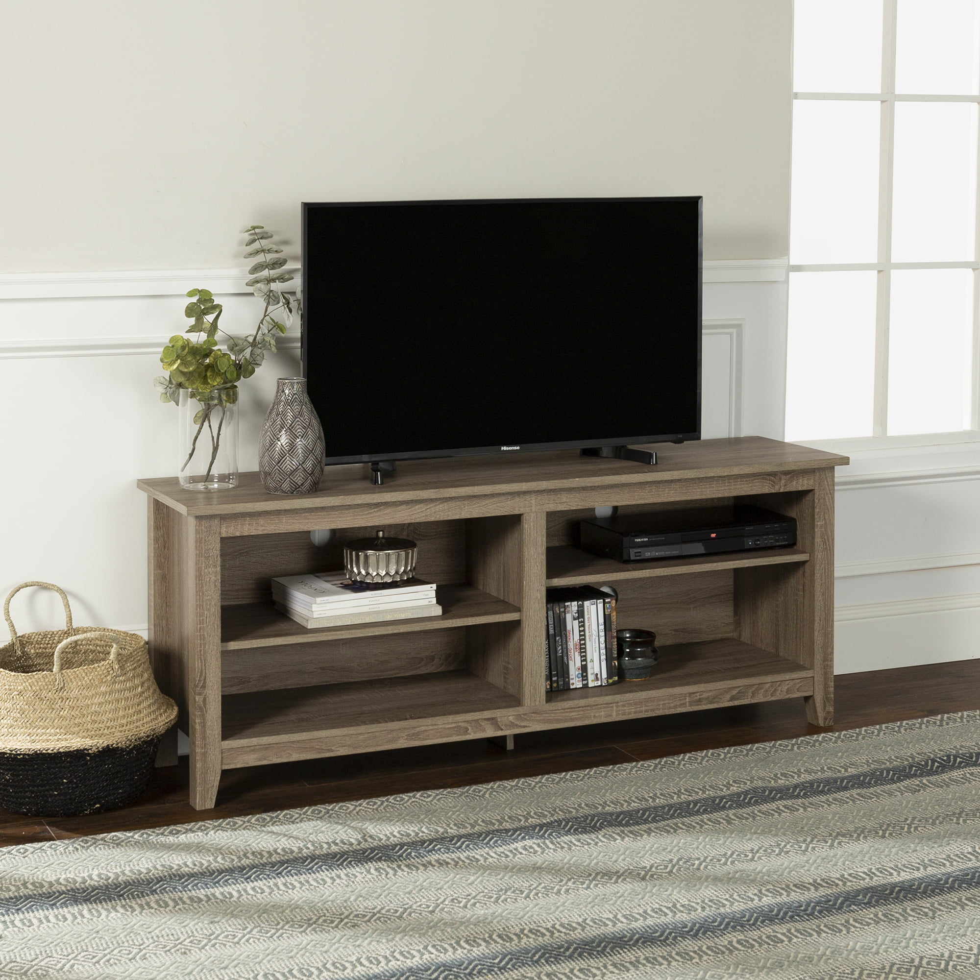 Walker Edison Wood Tv Media Storage Stand For Tv S Up To 64 Driftwood Walmart Com Walmart Com