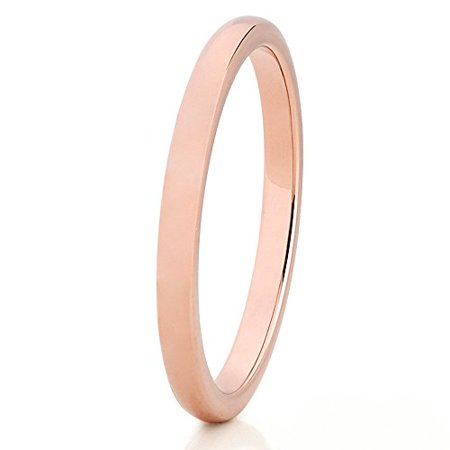 Silly Kings Rose Gold Tungsten Wedding Band 2mm Wedding Band Men & Women 18k Rose Gold Tungsten Ring Engagement Tungsten Ring Comfort (Rings Ladies Rose Gold Ring)