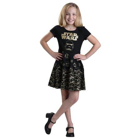 Star Wars Gold Glitter Stormtrooper Girls Dress