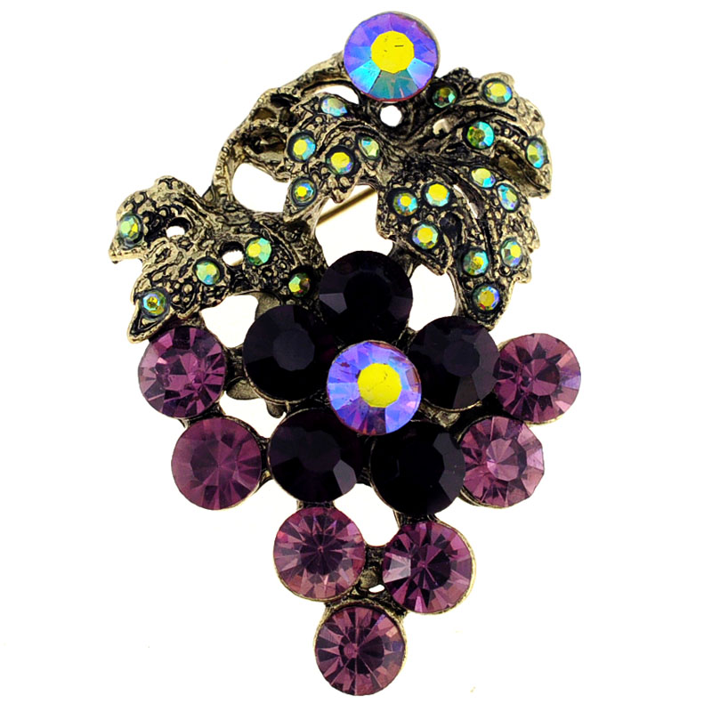 Amethyst Purple Grape Crystal Pin Brooch by